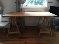 IKEA DESK - WOOD TRESTLE AND TABLE TOP