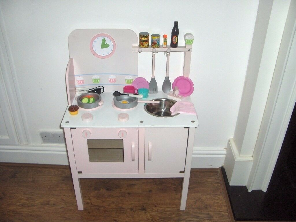 KIDS TOYS R US WOODEN PINK KITCHEN WITH ACCESSORIES | in Neath ...