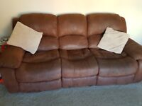 3 seater recliner sofa with 2x single rocking reclining chairs
