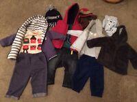 Large baby boys clothes bundle 3-6 months 3 complete outfits/coat, hats, gloves,excellent condition