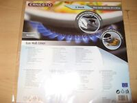 NEW 2 PACK OF SILVER ERNESTO NON STICK WASHABLE RE-USABLE GAS HOB LINERS