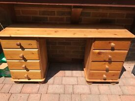 pinewood dressing table with 8 drawers