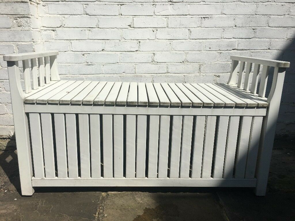 White Garden Storage Bench From Ikea