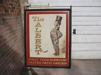 """LARGE ANTIQUE SWINGING PUB SIGN """"THE ALBERT"""" 5 X 4 FEET APPROX METAL FRAME"""