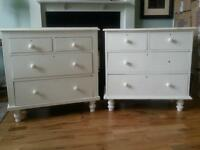 ANTIQUE VICTORIAN WHITE PAINTED CHEST OF DRAWERS - SHABBY CHIC