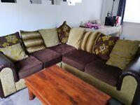 5 seater green and brown corner sofa