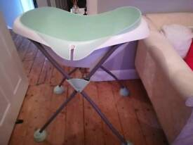French baby bath and stand with changing mat