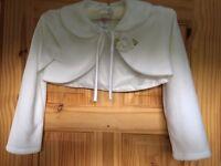 Kids Dream White Flower Special Occasion Fleece Bolero Jacket Girl, 9-10 years