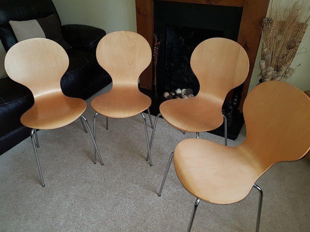 4 Beech Wood Chairs