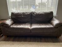 Brown Leather Sofa & Armchair