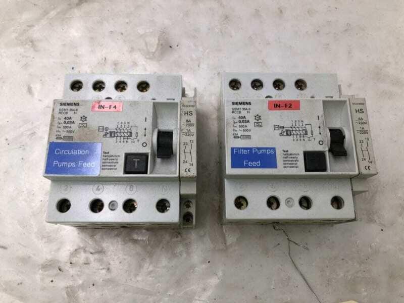 Siemens 5SM1 354-6 40A RCCB Residual Current Circuit Breaker 500V -Lot of 2