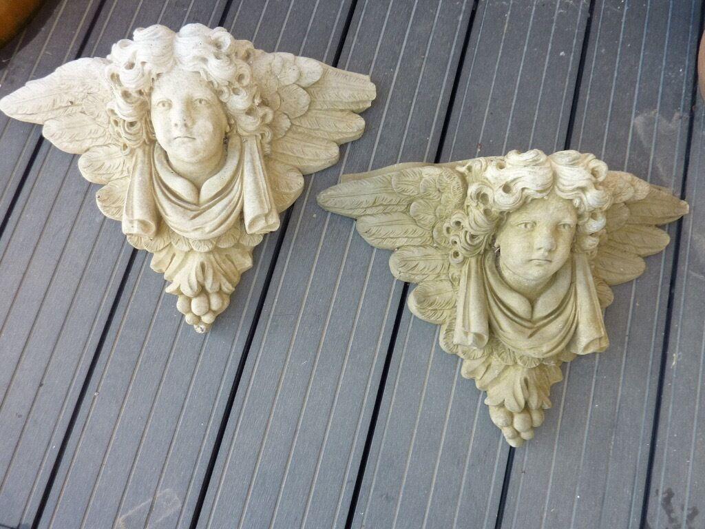 Garden wall ornaments - Stone Angel Head Garden Wall Ornaments