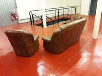 Brown leather 3 seater sofa &chairs ** £159 free delivery **