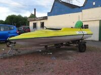SPEEDBOAT WITH HUGE YAMAHA 55HP ENGINE COMPLETE WITH TRAILER AND FULL SIZE £150 DINGY ready to go