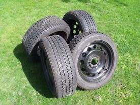 Four Bridgestone Blizzak 195/55R16 Tyres on steel wheels,