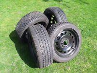 Four Bridgestone Blizzak 195/55R16 Tyres on steel wheels,