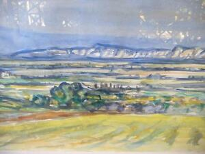 "Heinrich Waser "" Panoramic Landscape"" 1961 Original Watercolor Stratford Kitchener Area image 8"