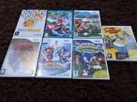 7 x Wii U & Wii Games Mario Kart 8,Mario Party 8 + More