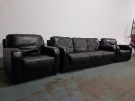 DFS STUDIO BLACK LEATHER LOUNGE SUITE 3 SEATER SOFA SETTEE & 2 ARMCHAIRS CHAIRS DELIVERY AVAILABLE