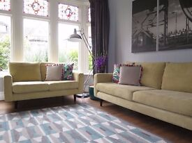 Yellow/Green DFS 4 and 2 Seater Sofa Suite