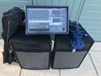 Yamaha EMX 512sc PA c/w Peavey Speakers, stands and cables.