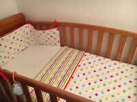 Cot bumper and blanket and curtains