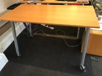 IKEA Galant Beech Desk, Leg with Lock/Unlock Caster Wheel - 120cm x 60cm