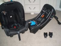 Joie 0+ Car seat with base and adaptors