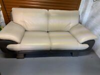 MODERN TWO TONE LEATHER SOFA AND ARMCHAIR