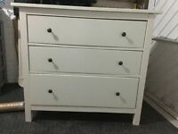 Large white three drawer chest of drawers ikea Pewter handles