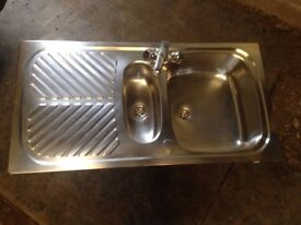 3 x USED STAINLESS STEEL QUALITY SINKS c/w MIXER TAPS & FITTINGS - KITCHEN / UTILITY ETC. £20 EACH