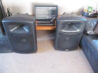 dj pa karaoke samson xm910 900watt power mixer soundlab 300watt speakers
