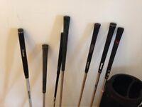 Young Guns golf clubs and smaller, lightweight bag, various clubs