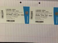 LOVEBOX FESTIVAL 2018 - LONDON. WEEKEND ENTRY FRI & SAT ENTRY £130.00