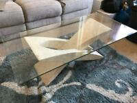 Unusual glass coffee table