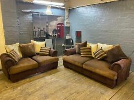 GORGEOUS FABRIC + SUEDE SOFA SET IN EXCELLENT CONDITION 3+2 seater