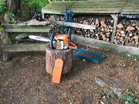 Stihl Chain Saw, electric chain sharpener & saw horse