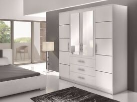 New Modern Wardrobe BALI 4D 196 *WHITE / MIRROR * Bedroom Furniture