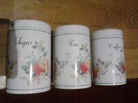 tea coffee sugar canisters - Brabantia -Fresh Fruit pattern by Johnson Brothers
