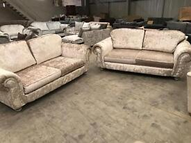 Gold crushed velvet 3 + 3 seater sofa suite