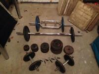 Free weights (102kg), Tricep Bar, EZ barbell, Spinlock Dumbbells and 4 x Spring Weight Bar Collars