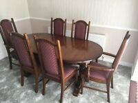 Nathan Oak dining table and 6 chairs