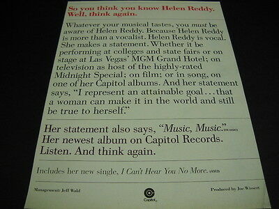 HELEN REDDY so you think you know HELEN REDDY original 1976 PROMO POSTER AD