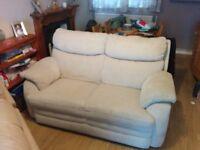 2 seater sofa cream fabric, good condition