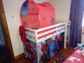 Spiderman high sleeper with mattress and tent plus a tent on the top