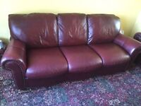 Comfy, well looked after leather three suite sofa