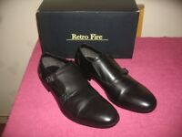 Brand New In Box Mens Retro Fire Black Leather Shoes Size UK 10