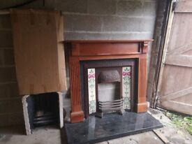 Stainless steel fire place surround, marble , back plate