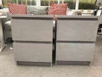 Ikea malm bedside drawers light grey