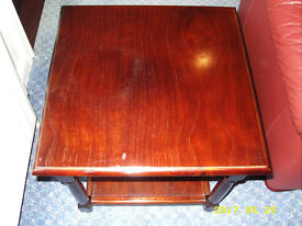 2 x solid mahogany side tables